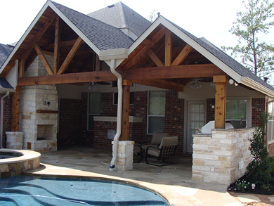 gable roof style on Dallas patio cover