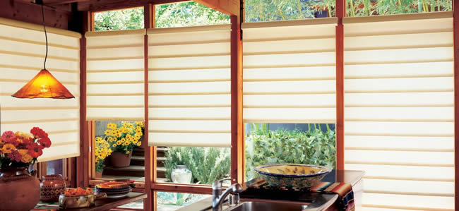 Roman shades in Dallas kitchen