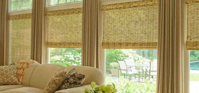 bamboo and woven wood Dallas Roman shades