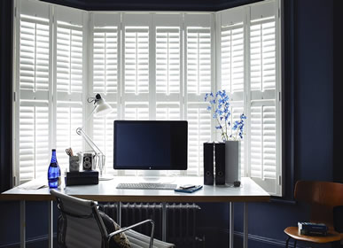 home office Dallas white plantation shutters