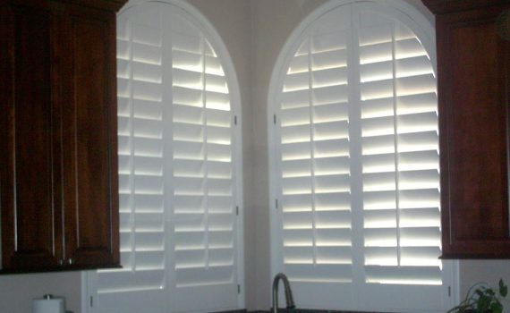 arched plantation shutters in Dallas Texas kitchen